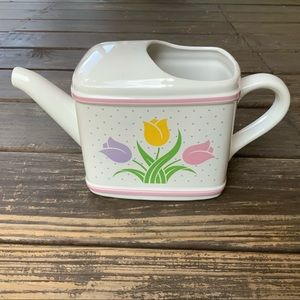 VTG Teleflora tulip polka dot watering can planter